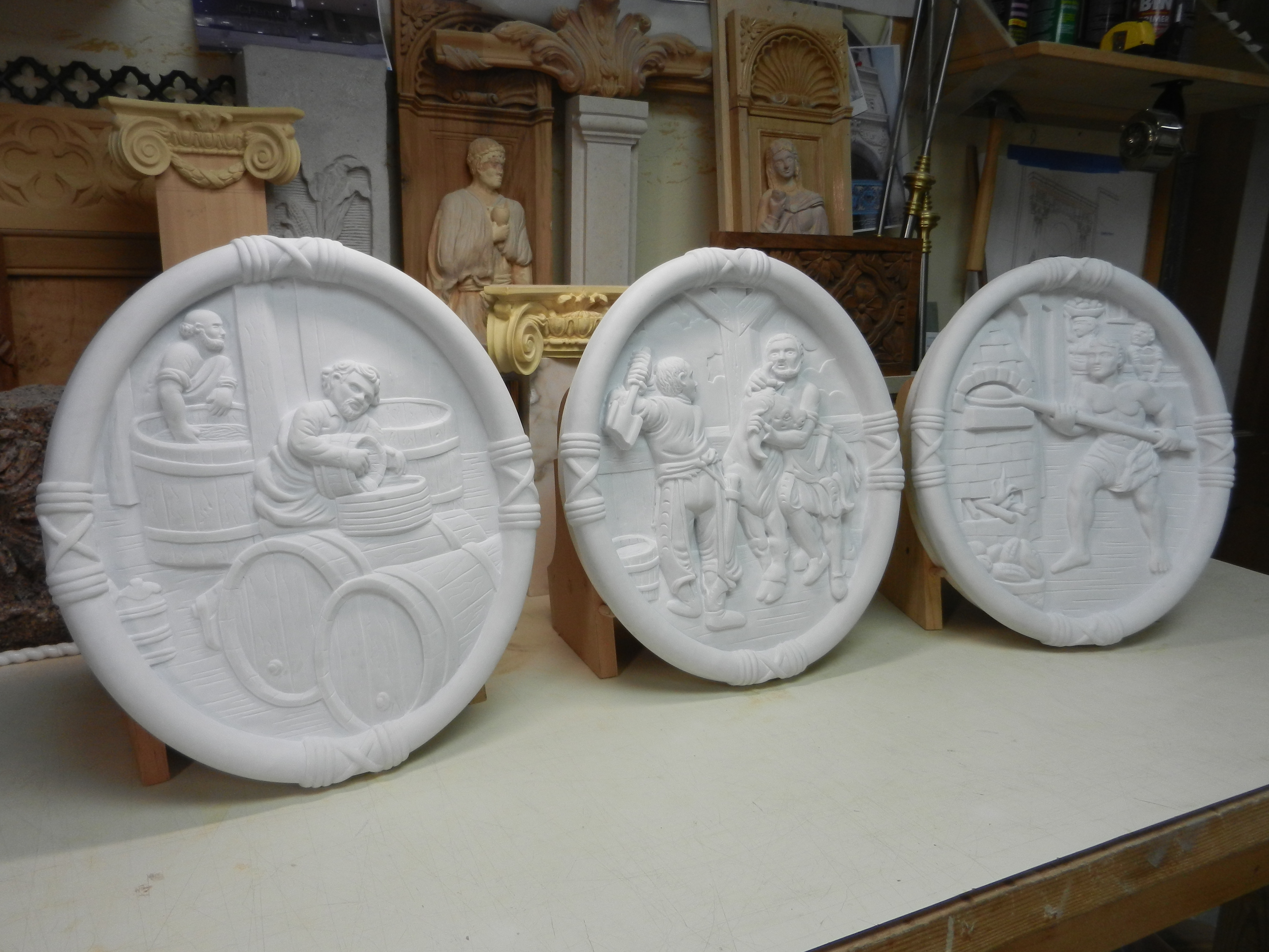 Carved Marble Plaques