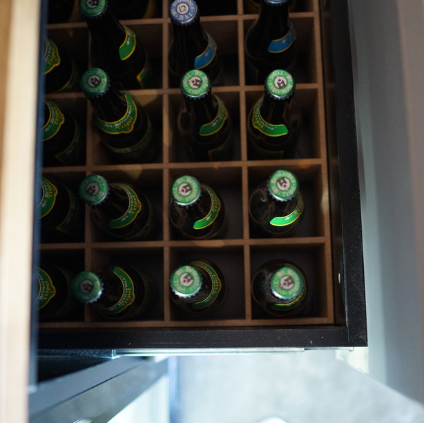 Beer bottle drawers in full use