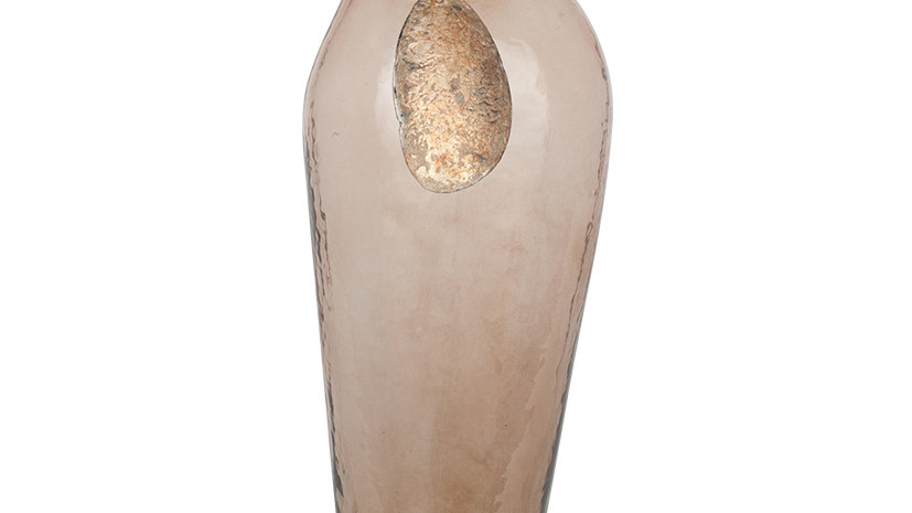 Brown Lustre Glass and Iron Bottle Vase