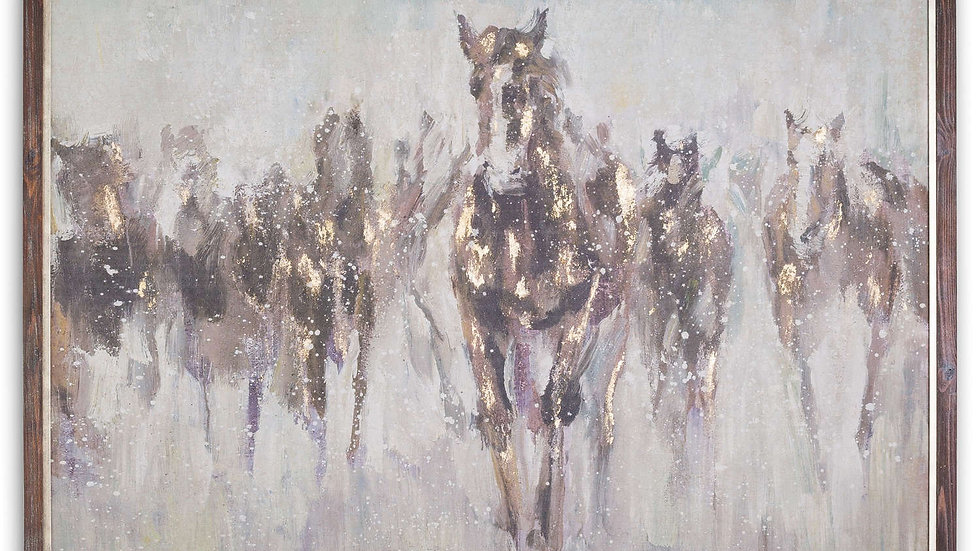 Wild Horses On Cement Board With Frame