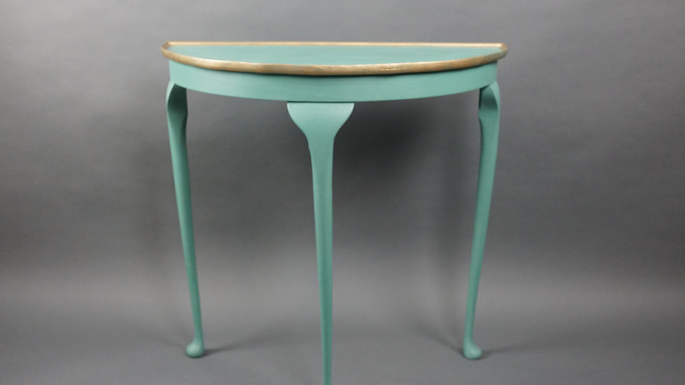 Aqua Green Half Moon Table