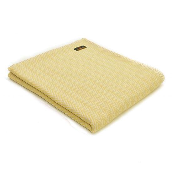 Cotton Throw - Herringbone Yellow with Blanket Stitch Edging