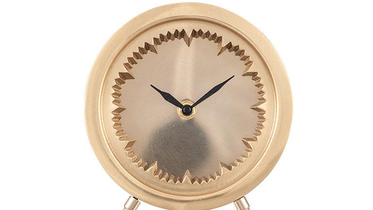 Antique Brass Cog Design Table Clock