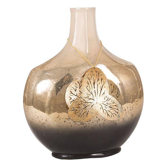 Cream, Gold & Chocolate Glass Vase