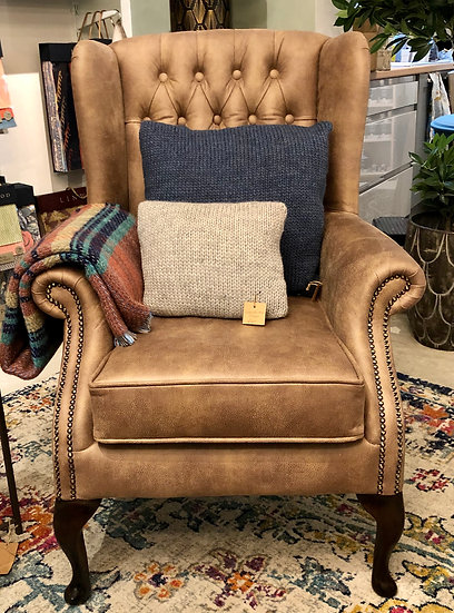 Kipling Wing Chair in Linwood Saddle Recycled Leather