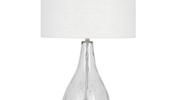 Clear Dimple Glass Table Lamp Complete with Linen Shade