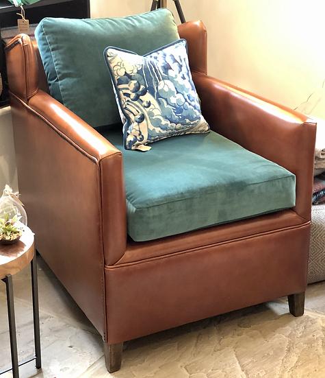 Bespoke Occasional Chair in Leather & Velvet