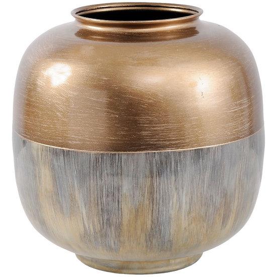 Brass and Enamel Rounded Vase