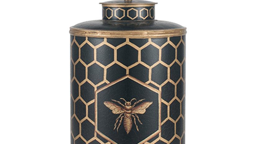 Black Honeycomb Hand Painted Metal Table Lamp