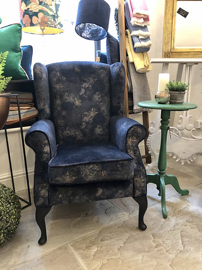 Cosmos Wing Chair in Linwood Orion Midnight
