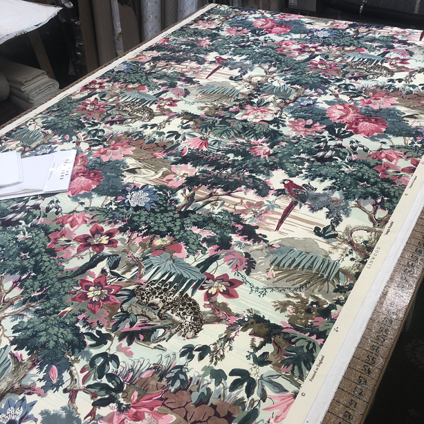 Fabric ready on the cutting table