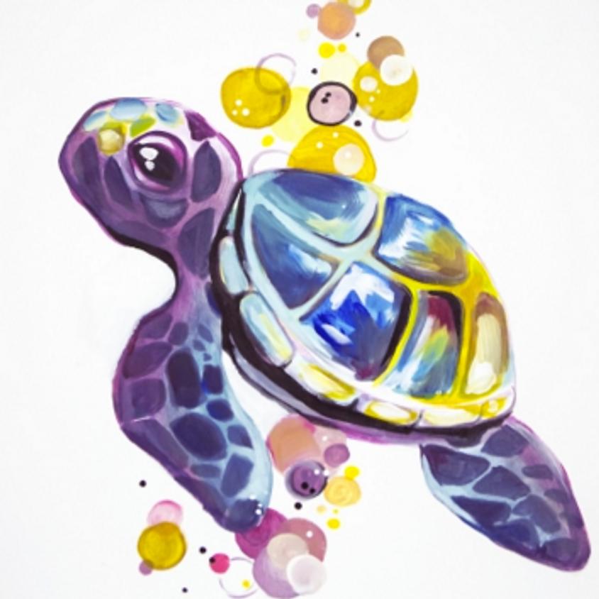 Paint Nite: Bubbles The Turtle Rainbow Friend