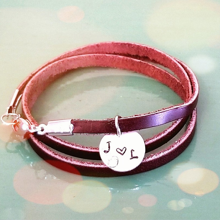 Leather Wrap Bracelet And Metal Stamped Pendant Necklace
