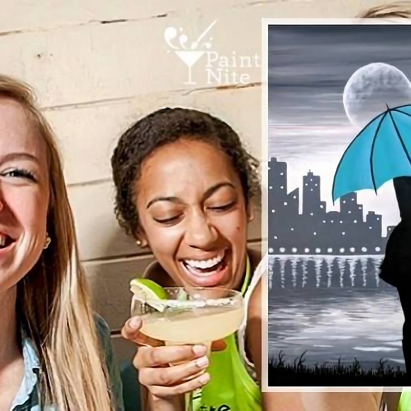 Paint Nite - Girl with the Teal Umbrella
