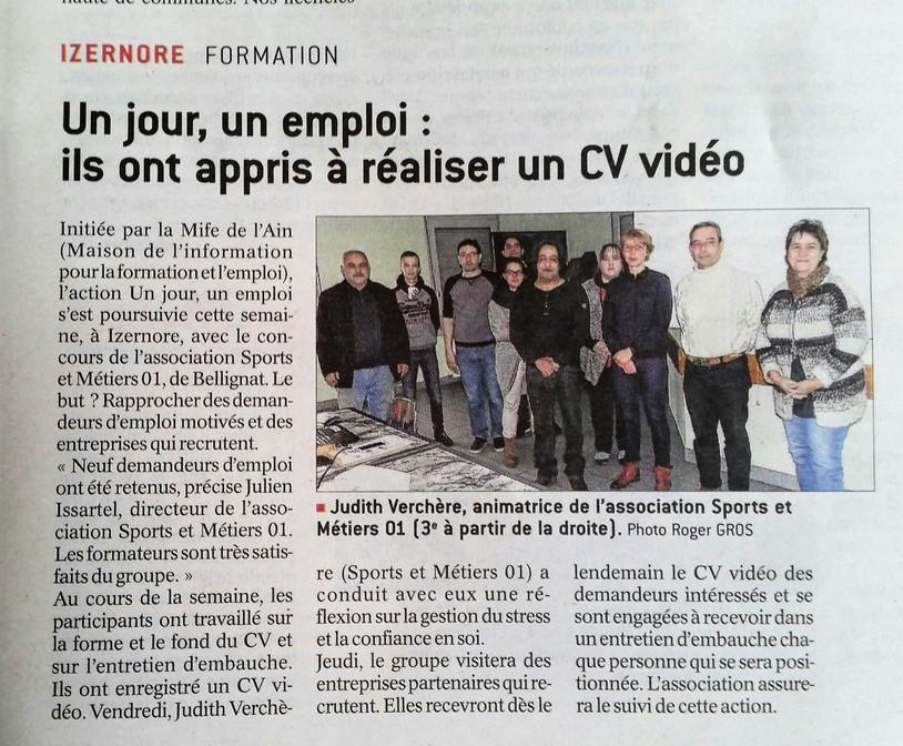"""Action """"1 JOUR 1 EMPLOI"""" - Le Progrès"""