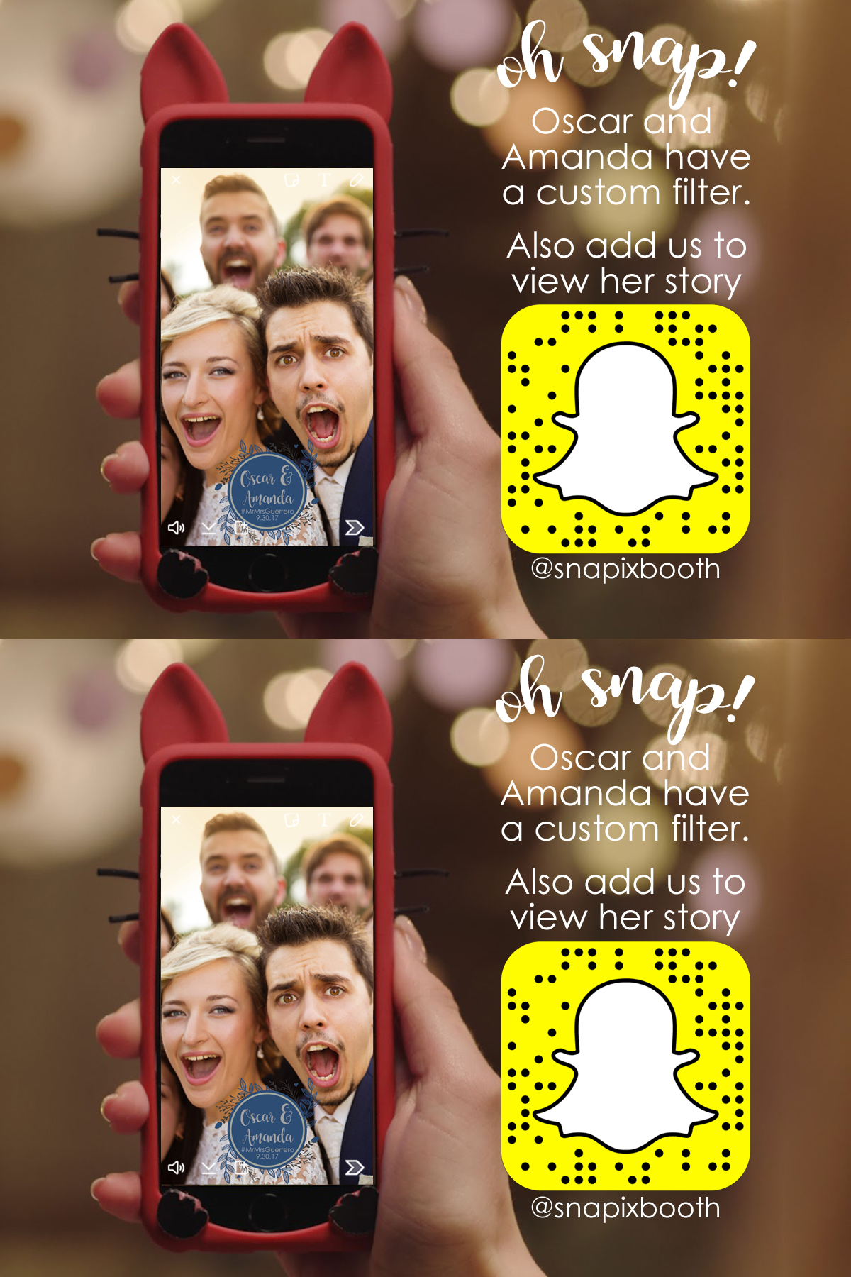 Snapchat Filter Table Cards