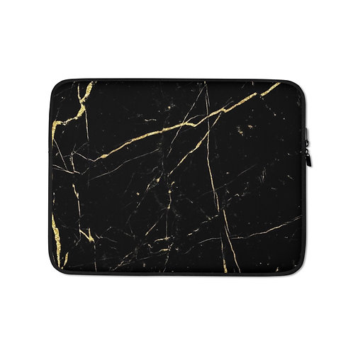 Black Gold Marble Laptop Sleeve
