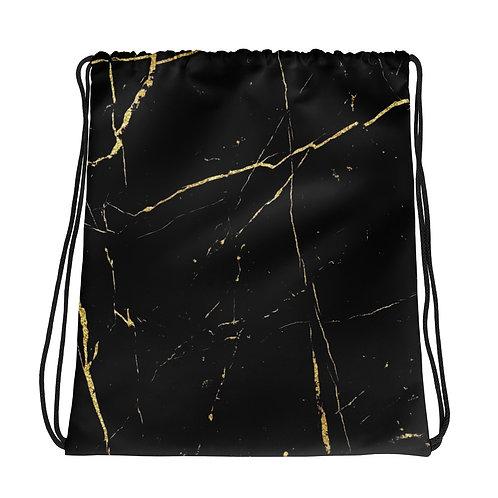 Black Gold Marble Drawstring Bag