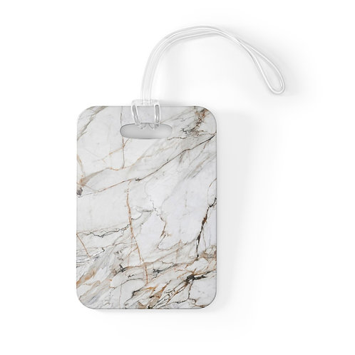White Gold Marble Bag Tag