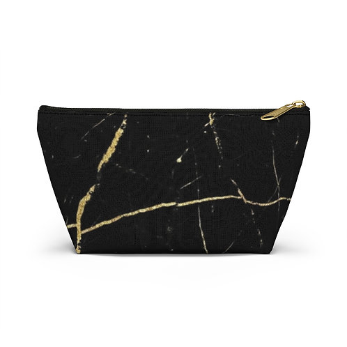 Black Gold Marble Accessory Pouch