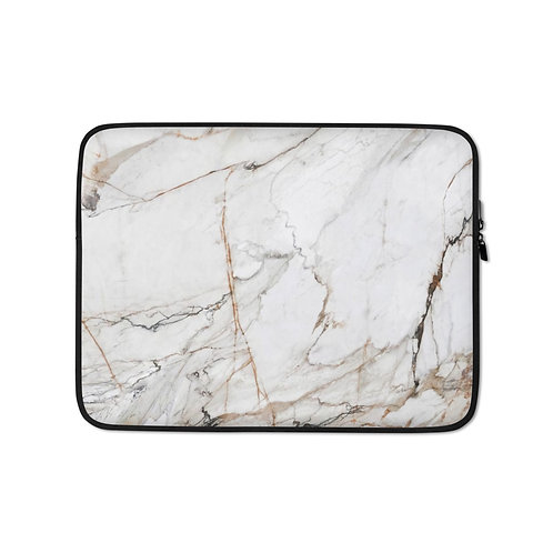 White Gold Marble Laptop Sleeve