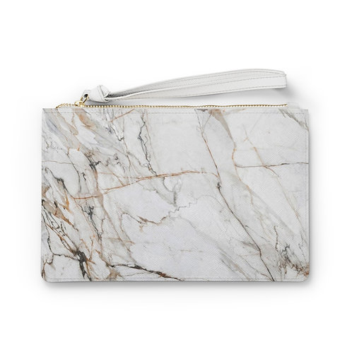 White Gold Marble Clutch