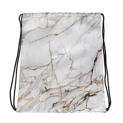 White Gold Marble Drawstring Bag