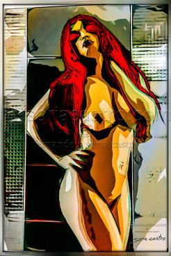 Chica de pelo rojo.