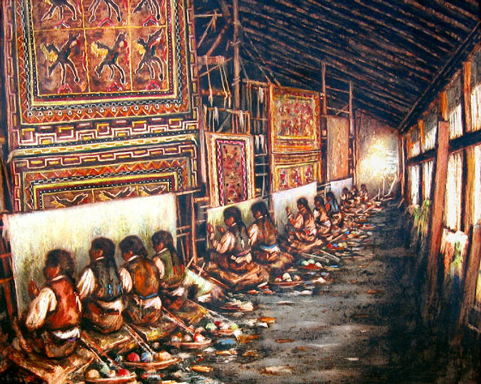 Hilanderas en Nepal, pintura a la encáustica de José Requena Nozal en la web requenanozal.com