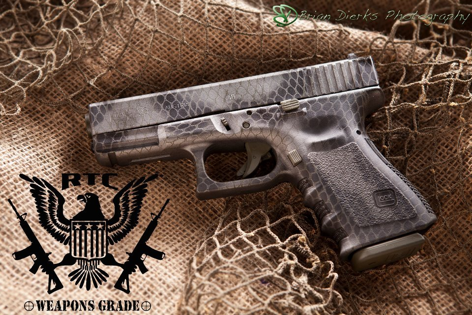 Glock 23 Three Color Freehand Camo; Sniper Grey, Graphite Black & OD Green