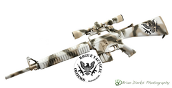 AR 15 Three Color Freehand Camo; Snow Panther; Bright White Desert Sand & Magpul OD Green