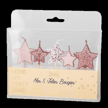 5 Bougies étoiles rose