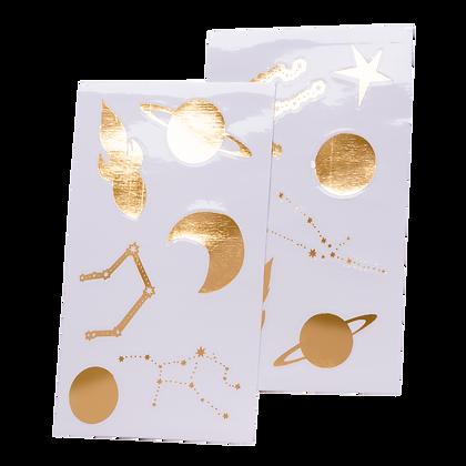 12 Stickers Dorés Astronaute