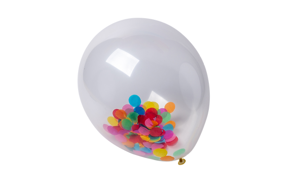 3 Ballons Transparents Confettis Multicolores