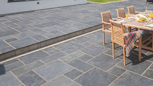 Blue Valley stoe paver backyard patio Tulsa