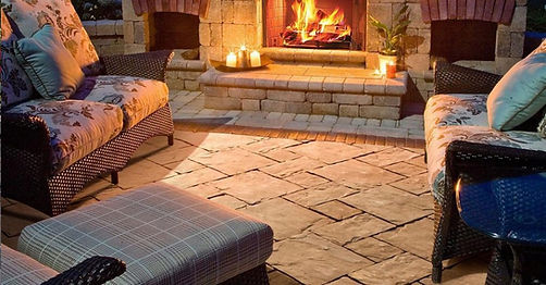 Thornbury Unilock Paver Backyard Patio Fireplace Tulsa