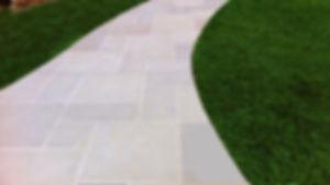 EW Gold stone paver walkway Tulsa