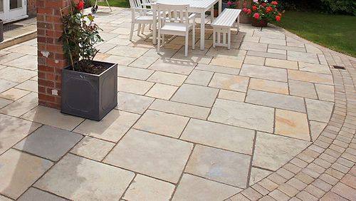 Old Morgan Town stone paver backyard patio Tulsa