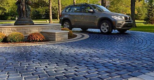 Courtstone Basalt Unilock Paver Tulsa Driveway