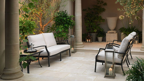 Laurel Grove Cream marble stone paver outdoor oasis Tulsa