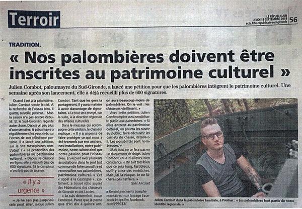 pétition pour inscrire nos palombière au patrimoine culturel de la Gascogne