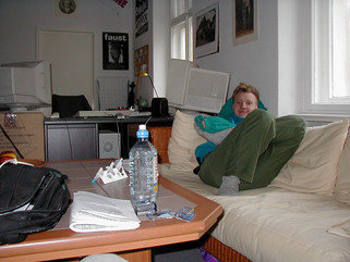 Gabor in his new apartment