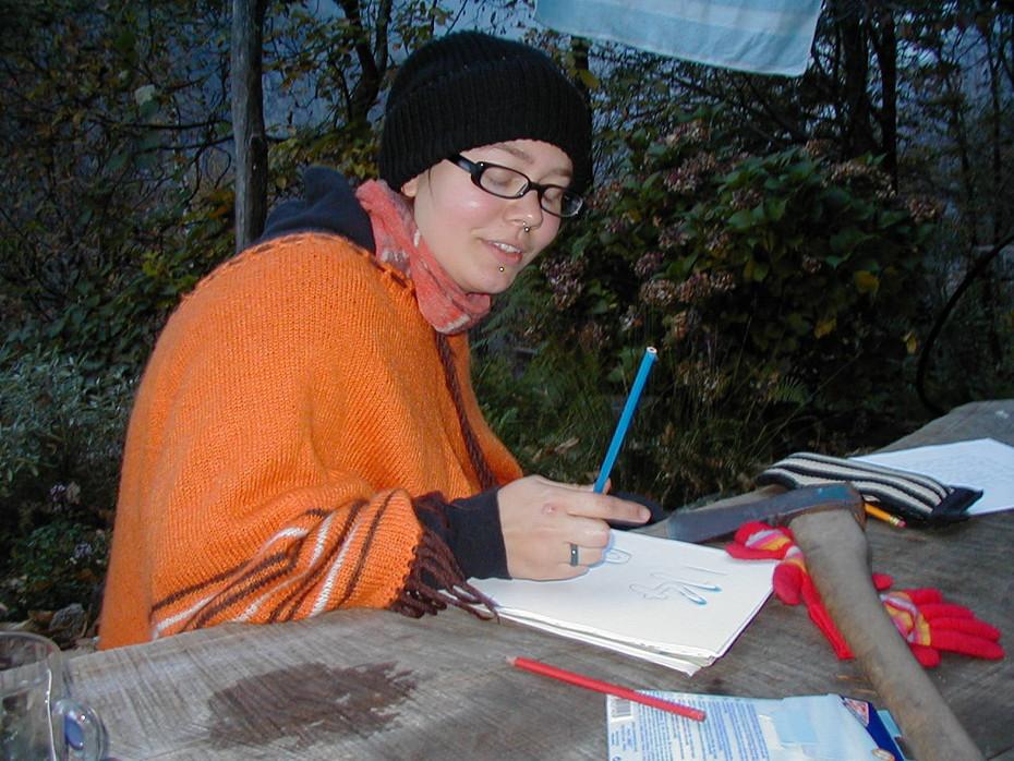 Sanna trying to do her homework: Berzona, Switzerland