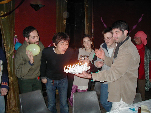 Keisuke blows out his candles