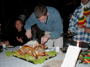 Darel carving the turkey