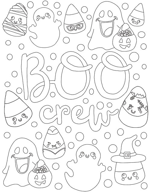 Free Coloring Page- Little Monsters Halloween