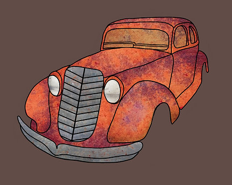 Custom Rusted Cartoon Car Poster
