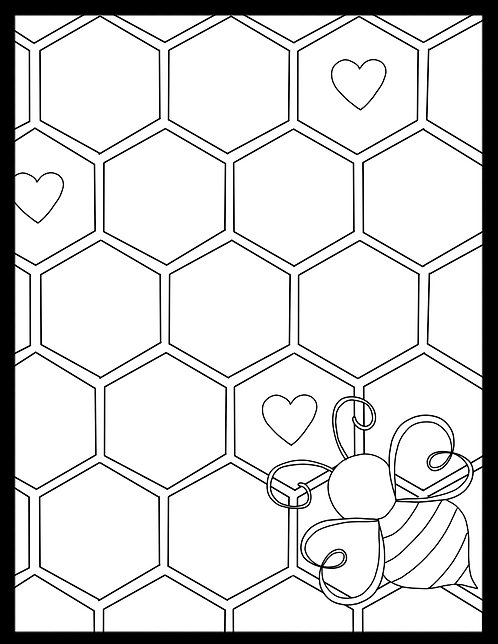 Free Coloring Page-Bees v2