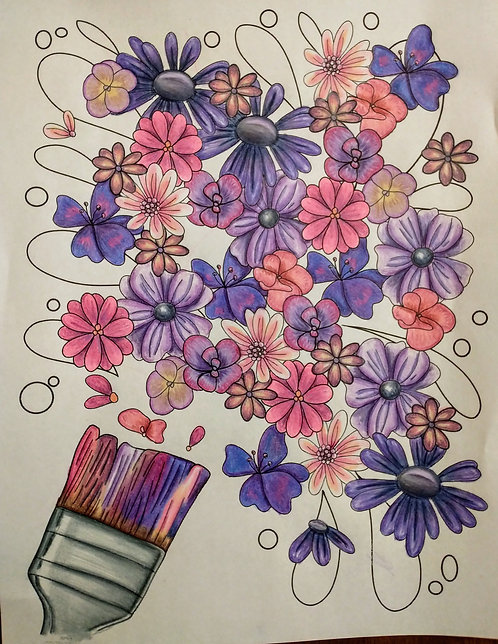 Floral Paintbrush Coloring Page