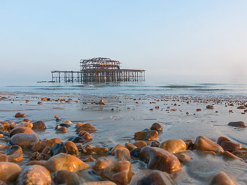 The Old West Pier, Brighton - with Beach and Pebbles